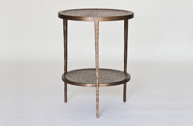 "Rio End Table with Shelf  18dx23""h  Burnished Iron Finish   KFTT222     This table is available in any size, finish, and configuration.  Please contact the showroom for a quote on custom orders."