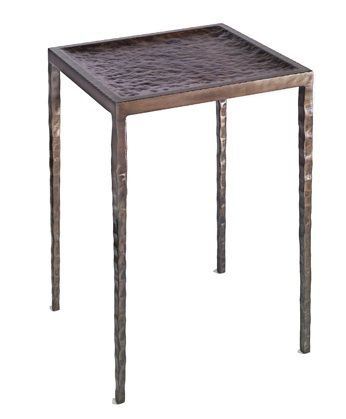 Rio Drink Table   Hammered Steel Top, Burnished Iron With Gold Rub  15×15×23H