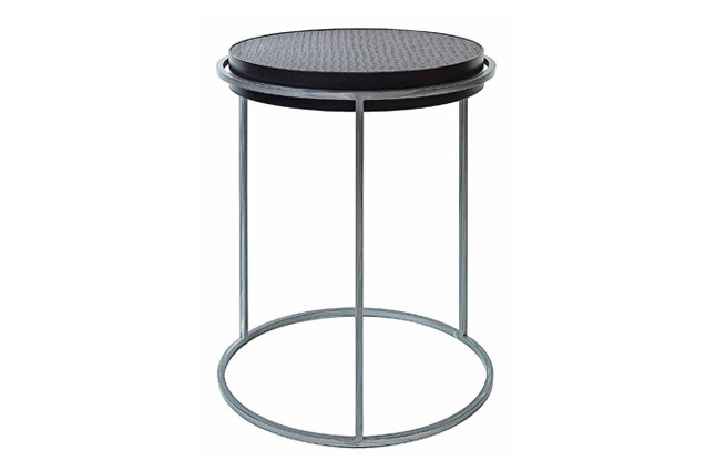 """Campari Party Table  18dx24""""h  Leather Top, Ebony Metal Sides and Nickel Frame   KFT051     This table is available in any size, finish, and configuration.  Please contact the showroom for a quote on custom orders."""