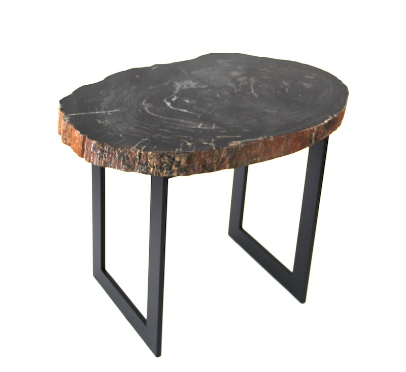 "Petrified Wood Slice on Iron Base Table   25.5×17×20""h   VO249AA"