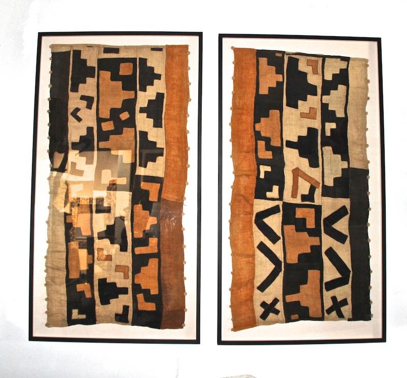 Vintage Kuba Cloth Framed   32×59h each   AF142AA