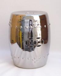 """Silver Porcelain Garden Stool  13×13×17""""h   LO1687"""