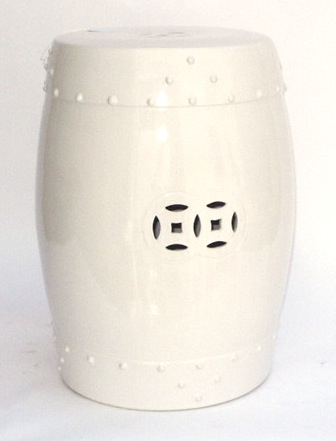White Ceramic Drum Stool   14×18h   EY1254WT