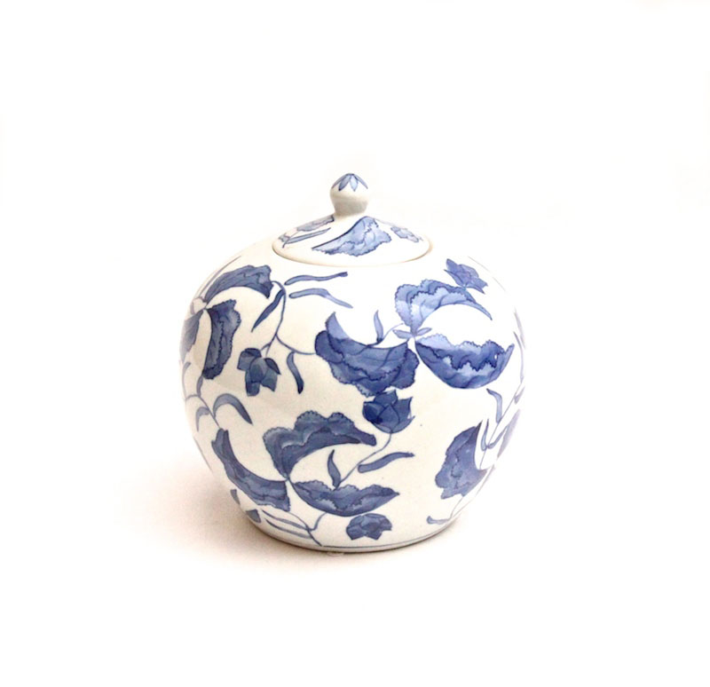 Blue & White Porcelain Floral Jar w/Lid,   8dx8h   OP145