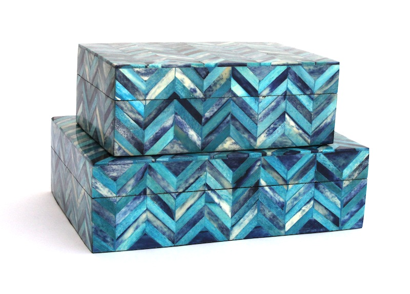 "Deep Blue Chevron Tile Bone Box   8×5x3""h   BIT350S     7×10x3""h   BIT350L"