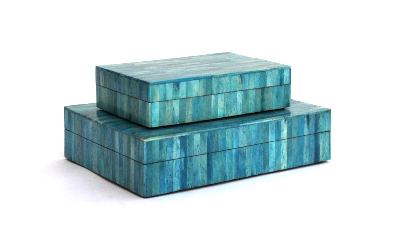 "Blue Dyed Bone Box     4×6x2""h   BIR988S     8×6x2""h   BIR988L"