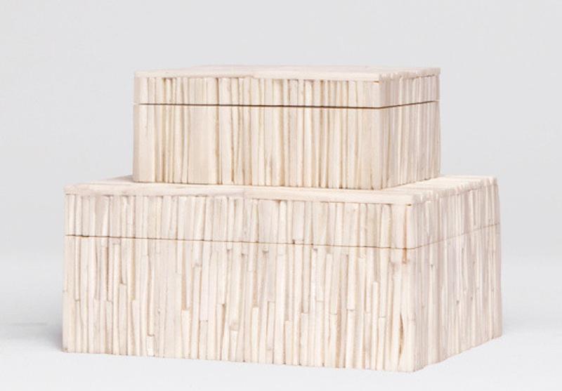 "Asher Bone Chip Box     8.5×6x4""h   MGASHERL     6×4x2.5""h   MGASHERS"