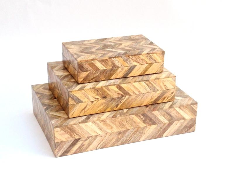 """Herringbone Pattern Wood Box     8×5x2""""h   BIW51S     10×7x2.5""""h   BIW51M     14×9x3""""h   BIW51L"""