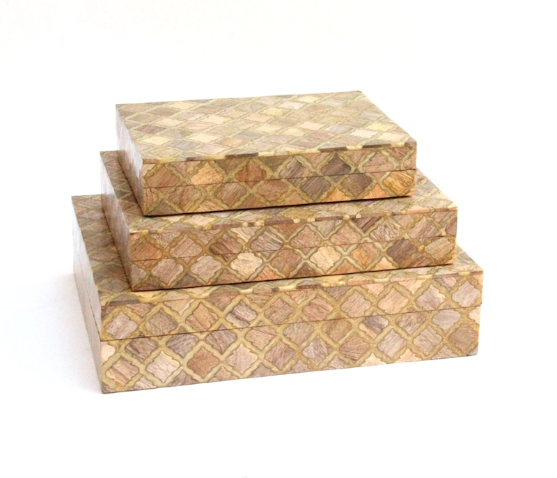 "Moorish Tile Wood Inlay Box     10×7x2""h   BIW65S     12×9x2.5""h   BIW65M     14×11×3.5""h   BIW65L"