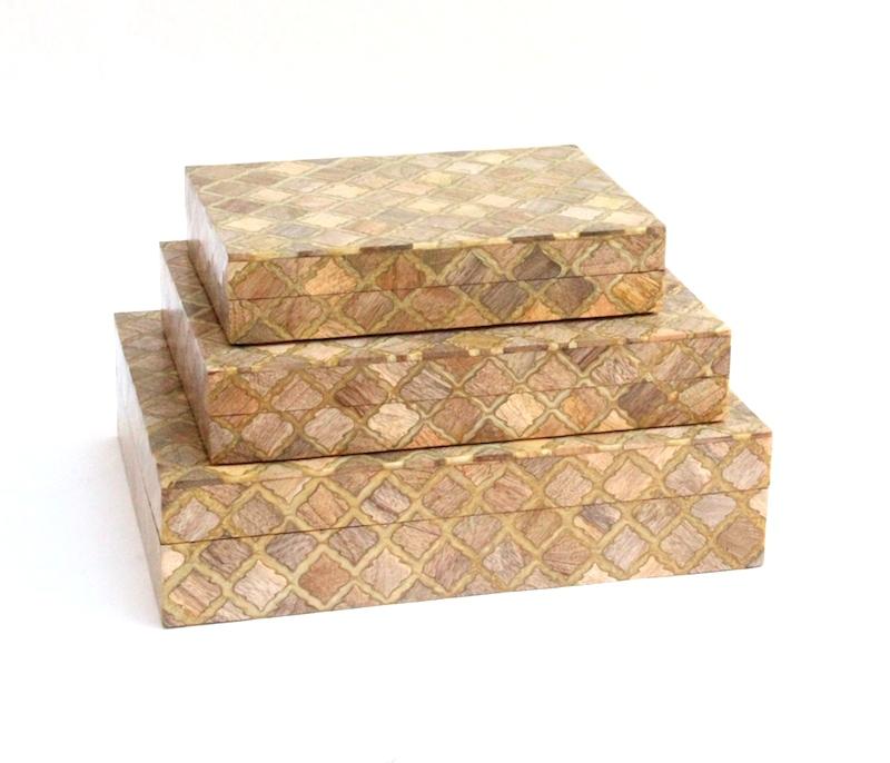 "Moorish Tile Wood Inlay Box     10×7x2""h   BIW65S     12×9x2.5""h   BIW65M     14×11×3.5""h   BIW65L"