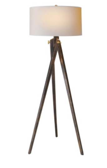 "Tripod Floor Lamp Tudor Brown with Natural Paper Shade 61""h VCSL1700TB-NP Also Available in French Wax"