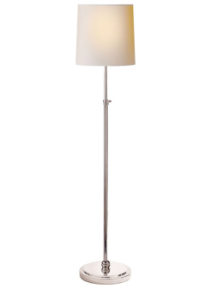 """Bryant Floor Lamp   Polished Nickel with Natural Paper Shade  44-60""""h   VCTOB1002PN"""