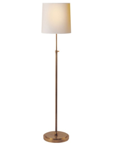 """Bryant Floor Lamp   Hand Rubbed Antique Brass with Natural Paper Shade  44-60""""h   VCTOB1002HAB"""