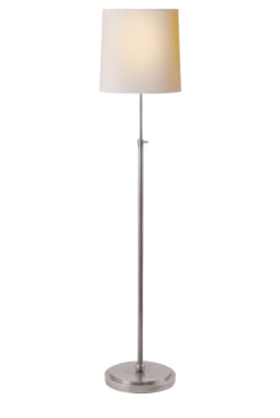 """Bryant Floor Lamp   Antique Silver with Natural Paper Shade  44-60""""h   VCTOB1002AN"""