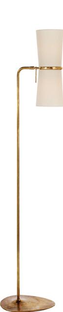 """Clarkson Floor Lamp with Linen Shades   58""""h   VCARN1003HAB -L"""