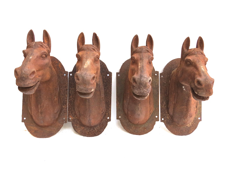 Small Rusted Iron Horsehead Wall Plaque   7×11×15h   BOR8785