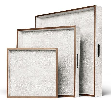 Faux Shagreen Tray With Wood Trim in Ivory   12×12×2h   MGAMINAIS   18×18×3h   MGAMINAIM   24×24×4h   MGAMINAIL