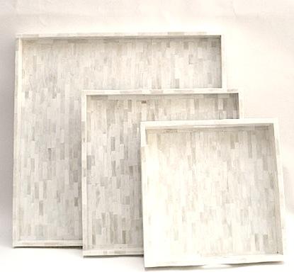 "Square Bone Tray     18sq x3""h   BIP348     22sq. x 2""h   BIP347     30""sq x2""h   BIR151A"