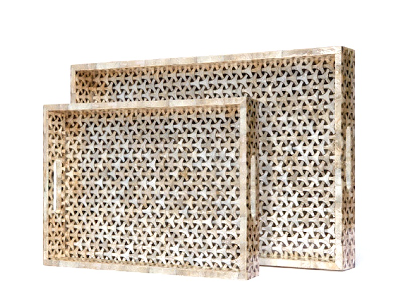 "Killian Capiz Shell Tray     16×12×2""h   MGKILLIANS     20×14×2""h   MGKILLIANL"