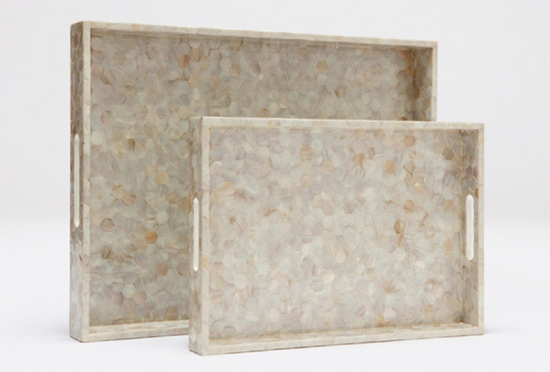 "Ellie Hexagonal  MOP  Tile Tray     18×12×2""h   MGELLIES     24×18×2.5""h   MGELLIEL"