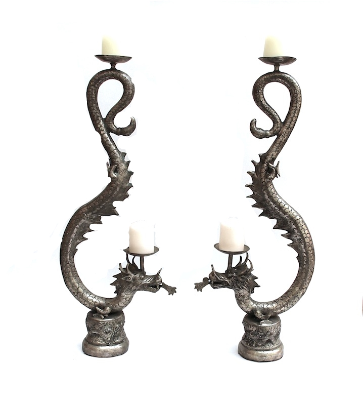 "Silver Single Tail Dragon Candle Stand 34""h QI008  Candles Sold Separately"