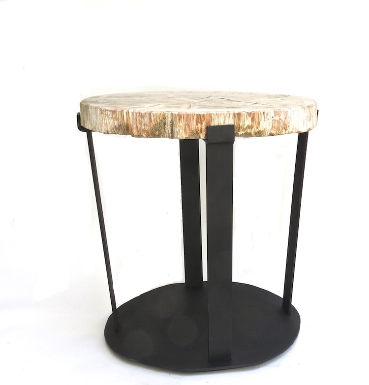 Dalton Table, Petrified Wood/Steel