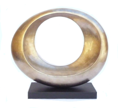 Circle  II,  Warm Grey Silver Leaf/Lacquer On Wood Sculpture   23×8x21.5h   HALPSC163