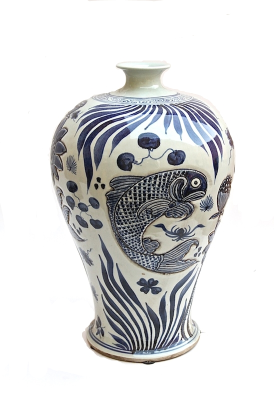 "Blue & White Porcelain Carved Fish Plum Vase   12dx18""h   LO1899"