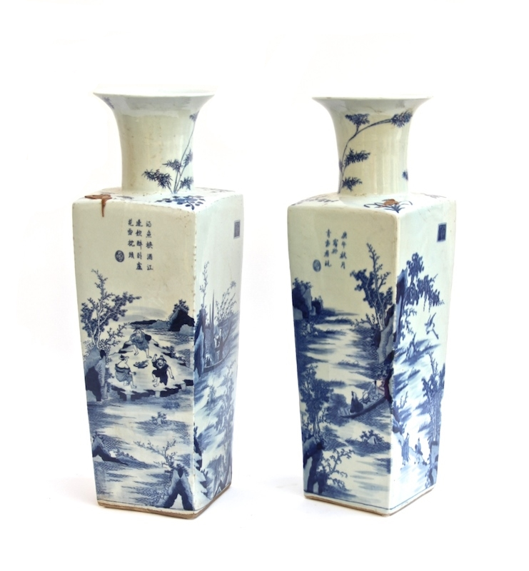 Chinese Blue and White Porcelain Square Vase   6×6x19.5h   OP170