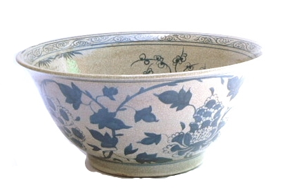 Antiqued B&W Porcelain Bowl