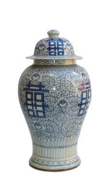 "Blue & White Porcelain Temple Jar 9dx18""h OP162"