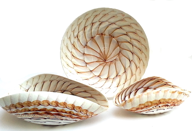 """Murano Glass Caraibi in Ivory Brown  MOP    Large Bowl 21×11×7""""h  MB58136   Small Bowl 16.5×9x6""""h  MB58135   Centerpiece Plate 19dx4""""h  MB58134"""