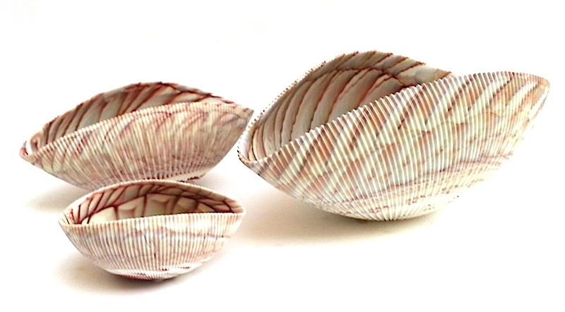 """Murano Glass Shell in Ivory Red     7×4.5×3""""h   MB58114     12×7x4""""h   MB58113     17×9x7""""h   MB58112"""