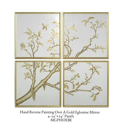 "Hand Reverse Painting Over A Gold Eglomise Mirror  4- 24""×24"" Panels   MGPHOEBE"