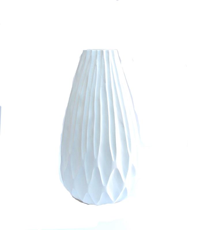 "Mango Wood Luminance Vase in White  12x21""h  BUMVAS22"