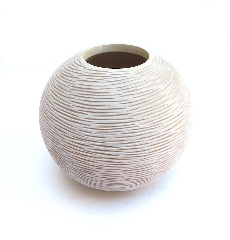 """Mando Wood Horizontal Chiseled Vase in Whitewash  9x7.5""""h  BUMVAS26"""