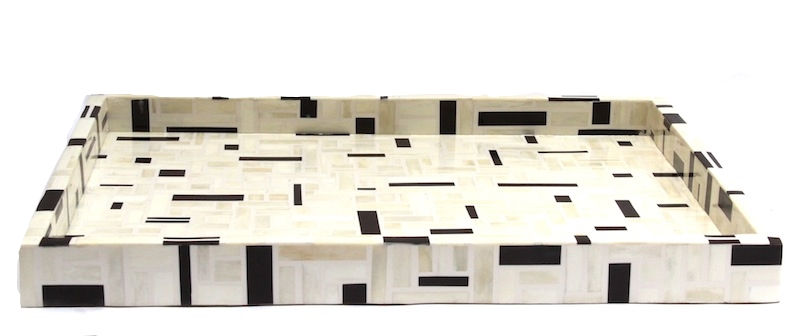 "Mod Ivory and Walnut Brown Bone Tray  24x18x2""h  BIT875"
