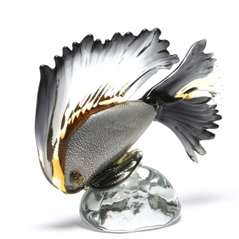 "Murano Glass Fish on Base. Black/Amber  10.5""Lx 9""h  MB22-4728"
