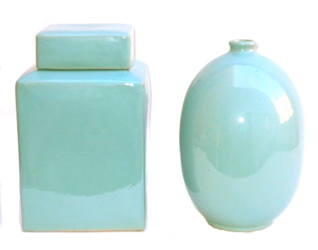 "Square Ginger Jar in Vintage Teal  9×15""h EY0746TL  Oval Vase in Vintage Teal  9×14""h EY0741TL"