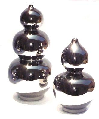 "Silver Ceramic Triple Gourd Vase  8.5×19""h EY4040SV  Ceramic Gourd Vase Silver 7×13""h EY4030SV"