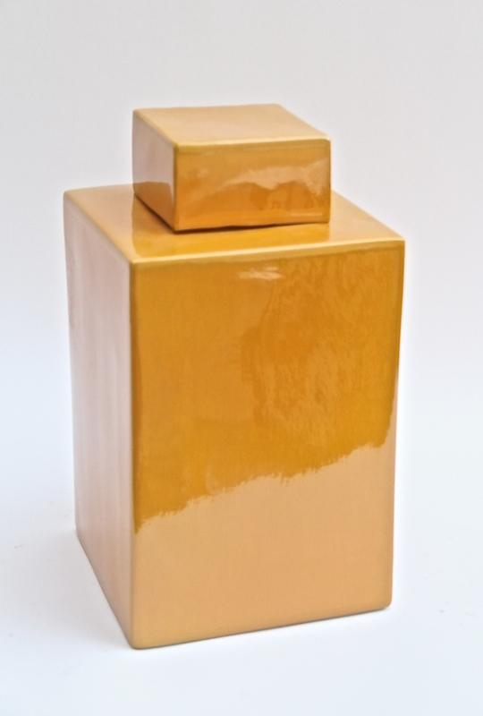 """Yellow Porcelain Square Tea Jar    8dx15""""h   LO1804  -Y"""