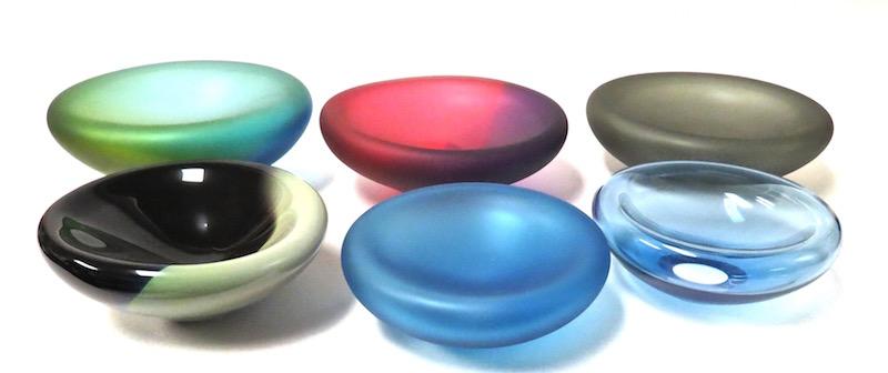 "Glass Cell Bowl,  12dx4.5""h  TS025  12dx4""h  TS022  12dx4""h  TS018  10dx4""h  TS021  9dx3.5""h  TS020"