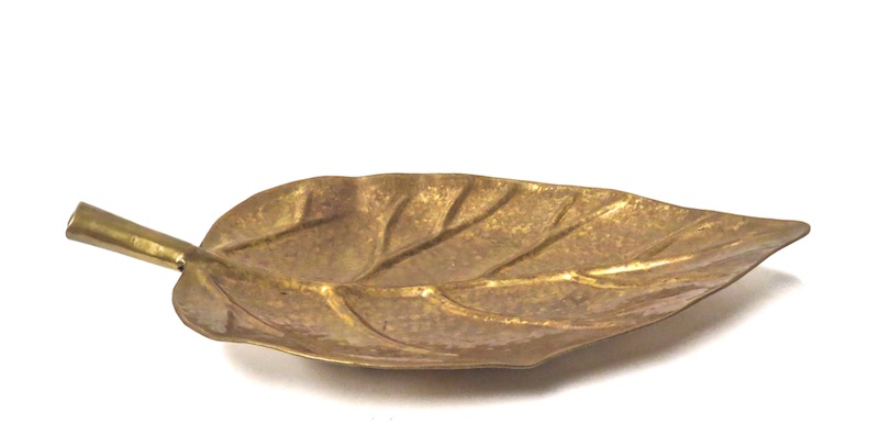Brass Leaf Tray  20x11x1h  BIA297
