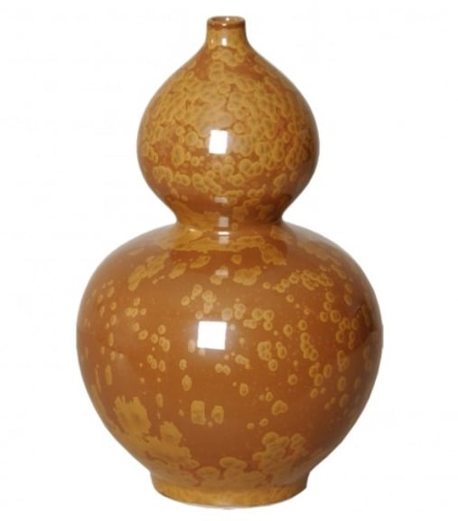 Double Gourd Vase, Crystal Bronze,  7dx14h   EY4030CB