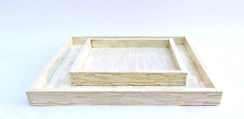 Large Chiseled Bone Tray, White   GV7.90241  18x18x1.5h    12x12x1.5h   GV7.90243  12x12x1.5h
