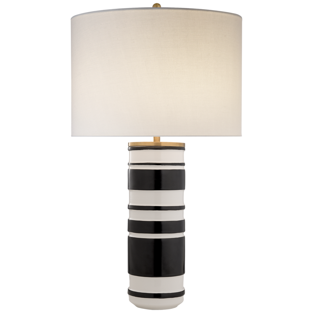 Ceramic Cylinder Table Lamp, White/Black  18dx30h  VCKS3040WL/BKL