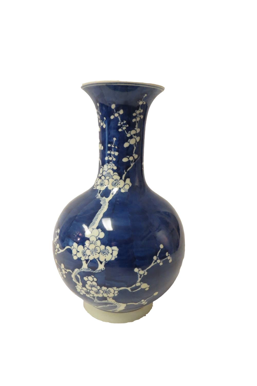 Blue & White Plum Blossom Long Neck Vase  8dx15h  OP194.1