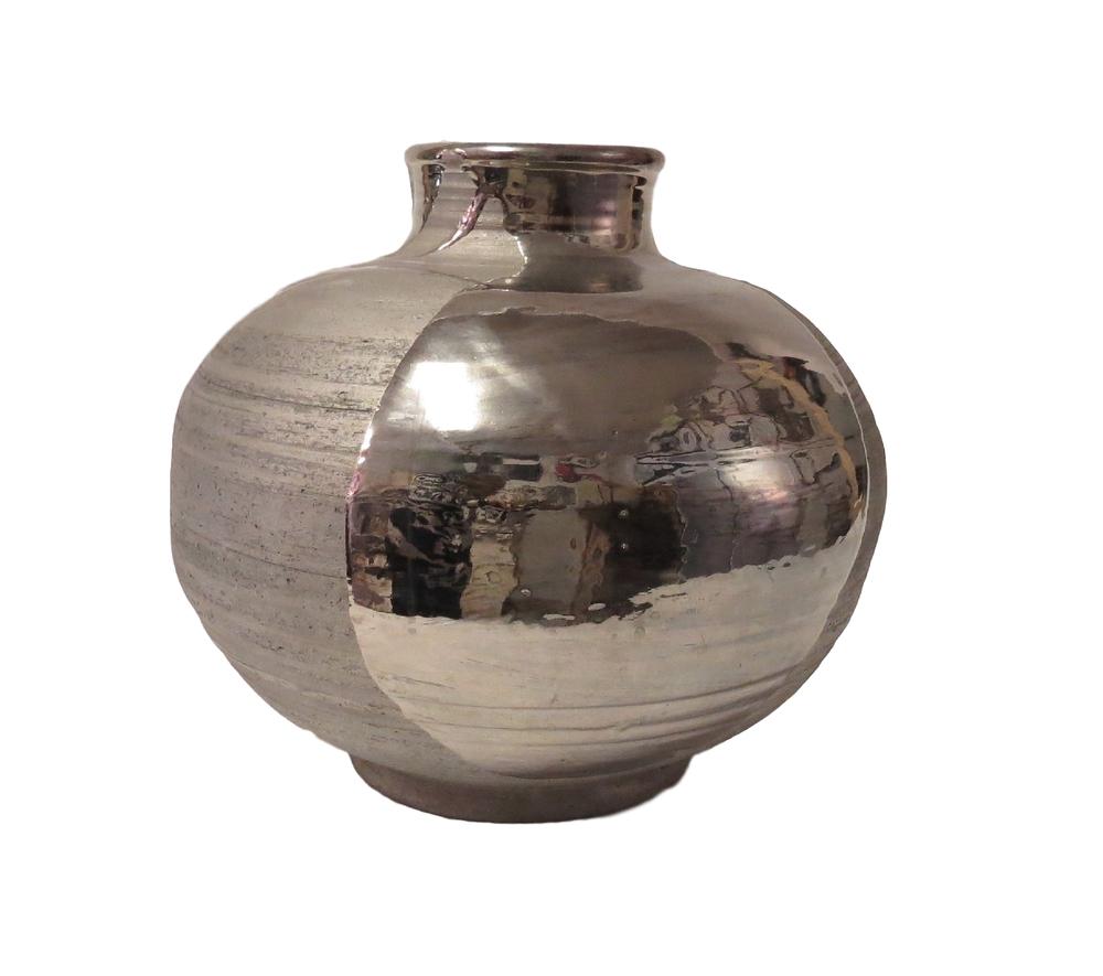 Tatiana, Fat Belly, Ceramic Platinum Gloss/Matte Glaze,  14dx13h  TA001
