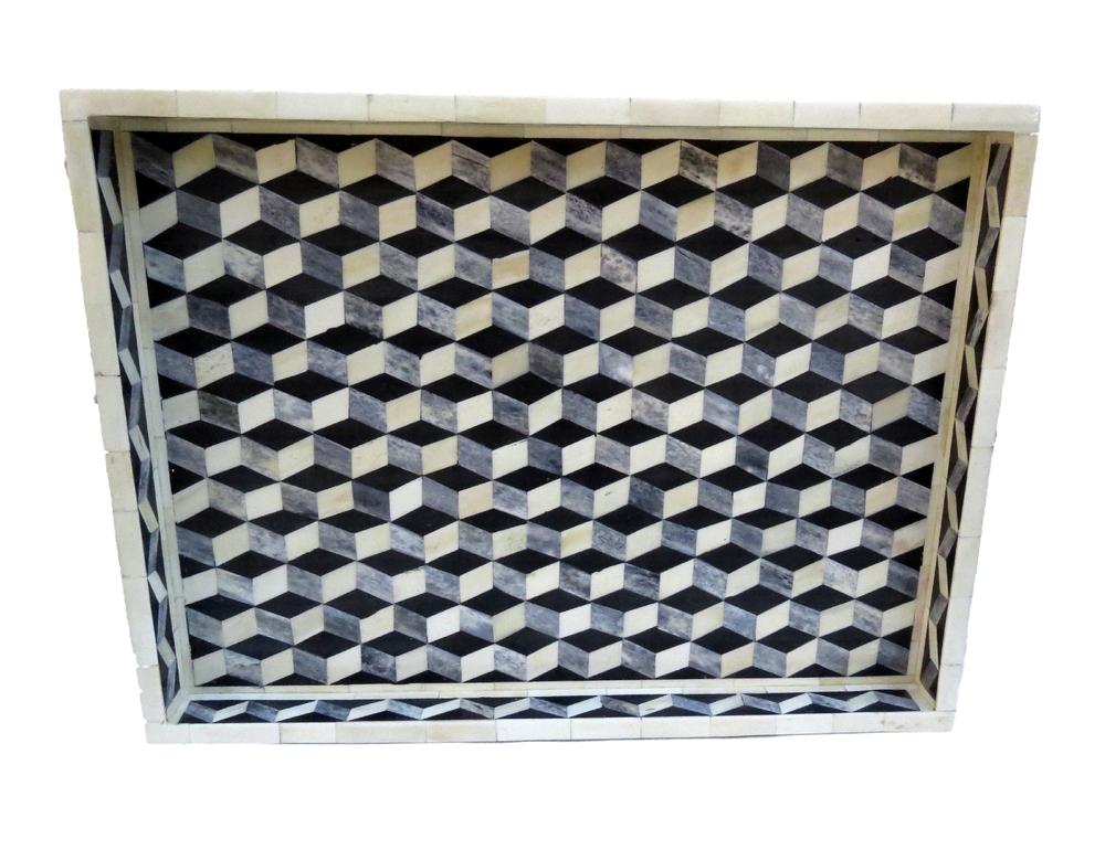 "Grey Geometric Tray  BIW397  24x18x2""h"