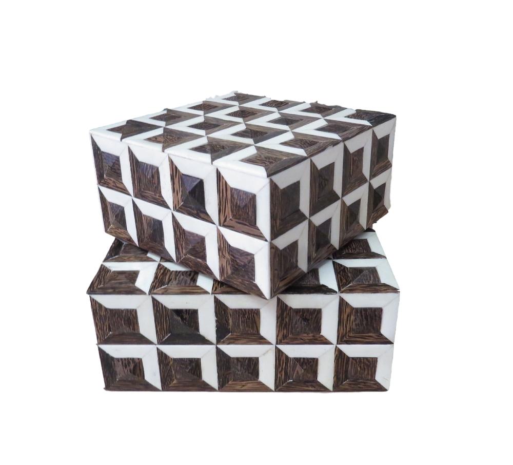 "Brown Bone Geo Box  BIW733S  8x8x4""h  BIW733L  10x10x4""h"
